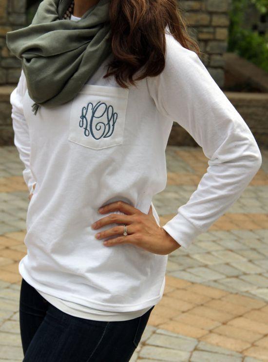 Monogram Long Sleeve Pocket Tee Shirt on Etsy, $24.00