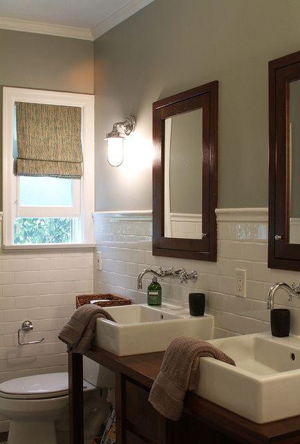 double vanity in small bathroom.