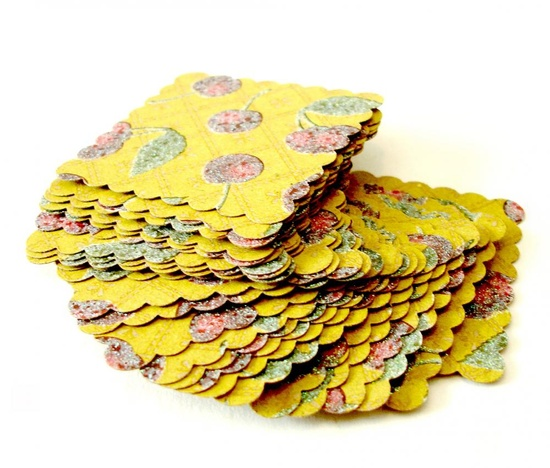 2inch scalloped squares in fruit patterned paper cherry