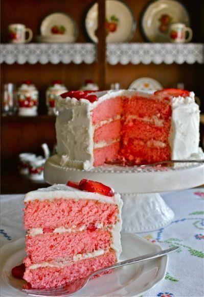 Three-Layer Strawberries and Cream #Cake #Cake recipe