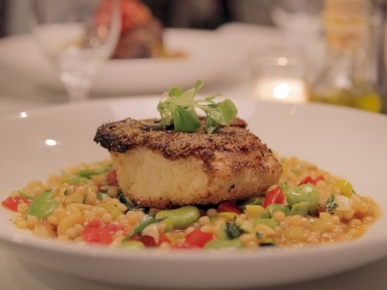 Wild Striped Bass with Favas and Couscous : Recipes : Cooking Channel