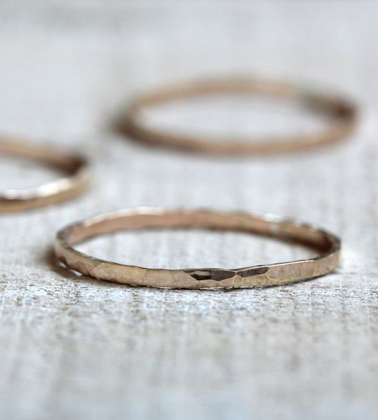 Delicate 14K Gold Hammered Ring by Praxis Jewelry on Scoutmob Shoppe. A simple little ring that makes a big statement. #ring #jewelry