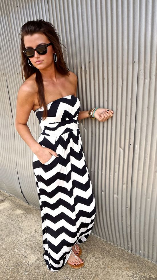 Cute Chevron Maxi Dress with Pockets