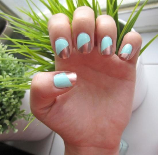 Mint + Copper nails #nail #art