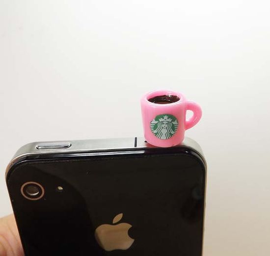 2 colors Cute Starbucks Coffee Cup Dust Plug 3.5mm Smart Phone Dust Stopper Earphone Cap Headphone Jack Charm for iPhone 4 4S 5 HTC Samsung. $2.99, via Etsy.  Jaw literally dropped these are so adorbs.