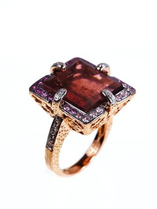 Square Pink Tourmaline Ring ~