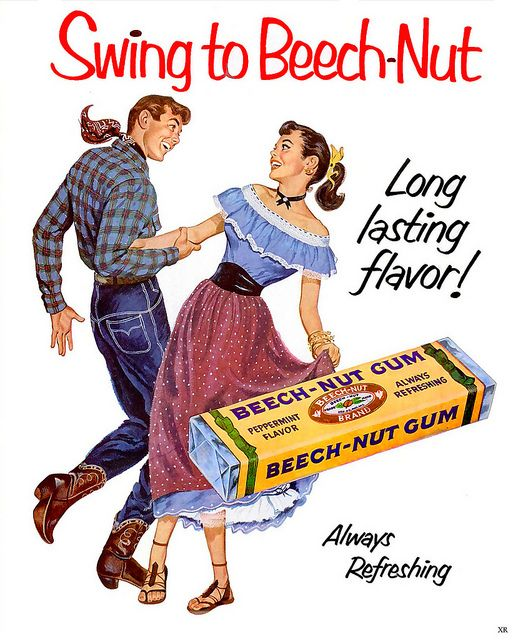 Love her charming western-inspired look in this vintage Beech-Nut Gum ad! #1950s #fashion