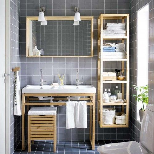 "A bit too ""Ikea"", but a lovely bathroom idea"