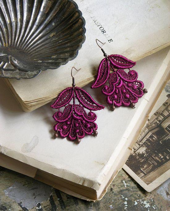 cybele lace earrings in violet #etsy #handmade #earrings #fashion #accessories