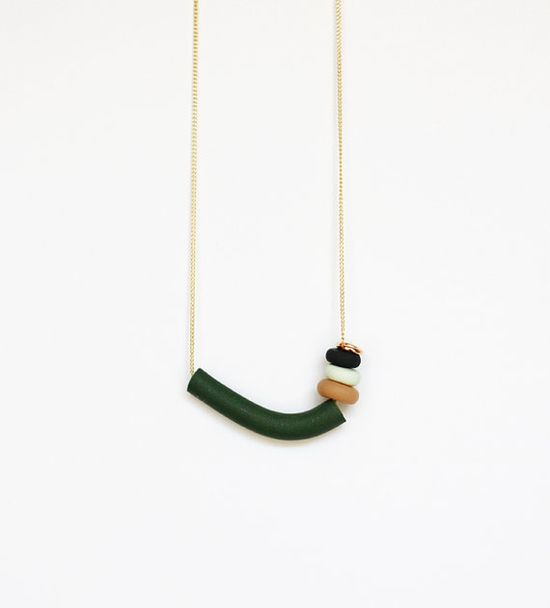 green and rose gold asymmetrical necklace