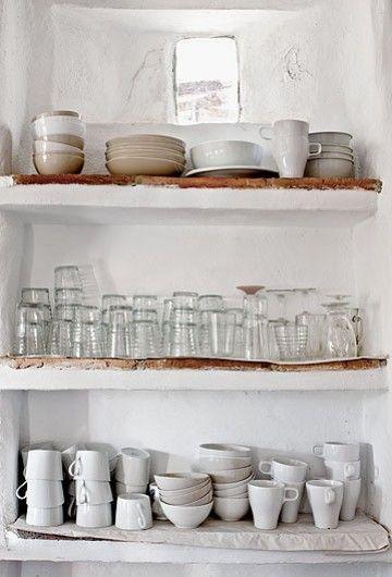 Open shelves.