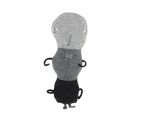 Ant, soft knitted toy, grey.