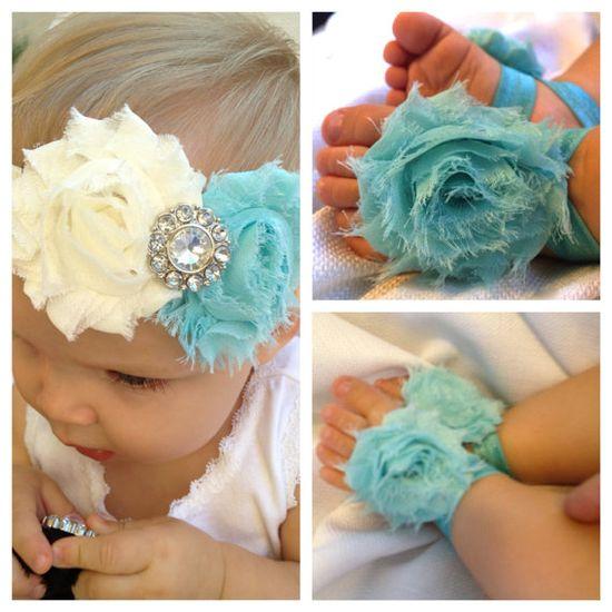 Baby headband & barefoot sandal gift set - rosette headband via Etsy--