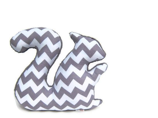 Chevron Plush Squirrel Softie Stuffed Animal Minky Zig Zag Gray White. $14.00, via Etsy.