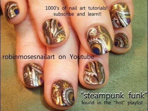 Steampunk Abstract Nail Art