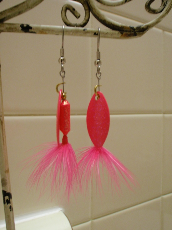 Handmade fishing lure earrings! I have been making them for years! Huge hit! I sell them for $10.00+ depending on lure. Custom orders and assortment of colors.