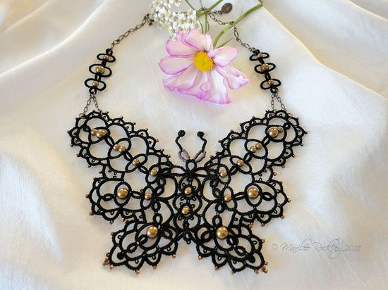 Tatted butterfly necklace by yarnplayer, via Flickr