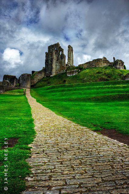 Ruins of the Corfe Castle, Dorset, England