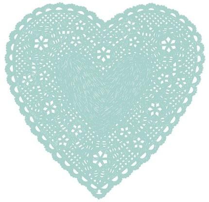 Aqua Heart Doily