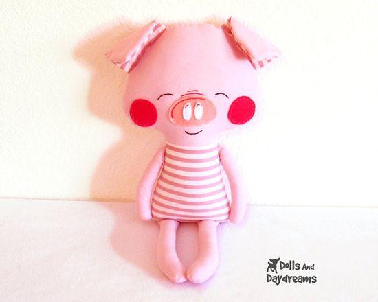 Pig Sewing Pattern PDF Softie Stuffed Toy Photo Tutorial Dress Up Farm Animal. $10.00, via Etsy.