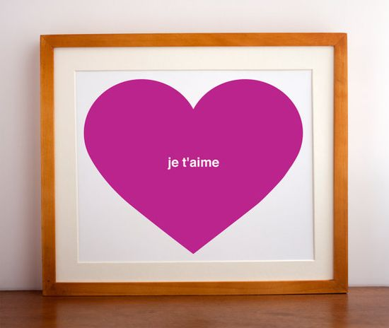 Je T'aime Heart Art Print by Gingiber on Etsy, $23.00