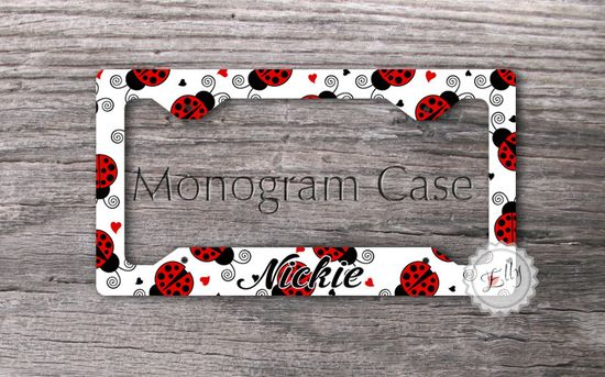 License car plate frame  Cute Ladybugs custom car by MonogramCase, $17.99  Low Carb Ladybug