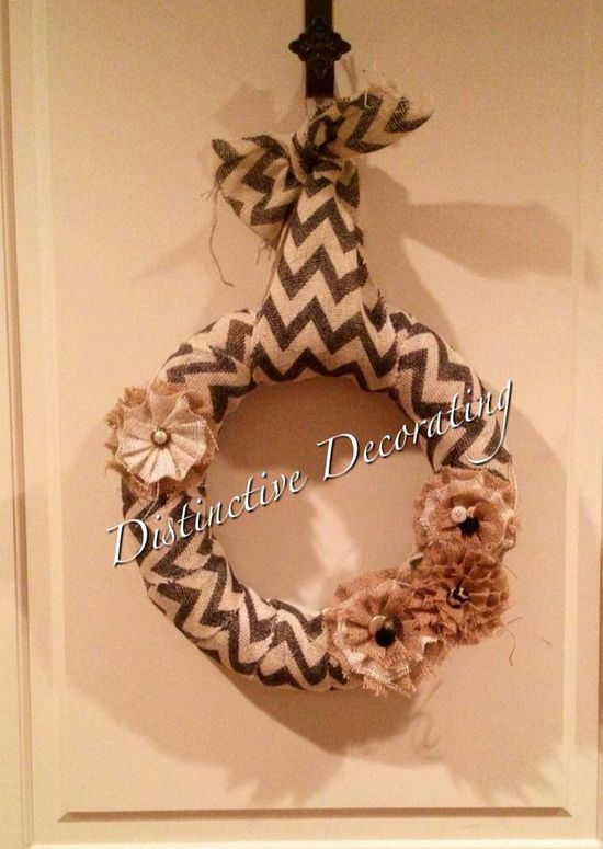 chevron burlap wreath with handmade flowers