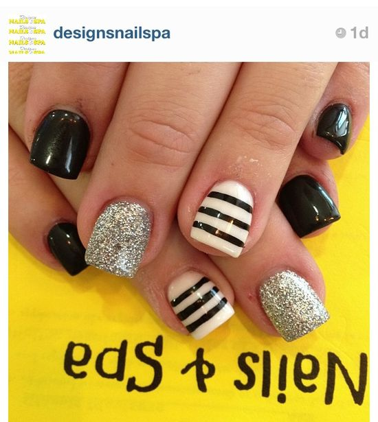 Black, white, silver.  Free Nail Technician Information  www.nailtechsucce...