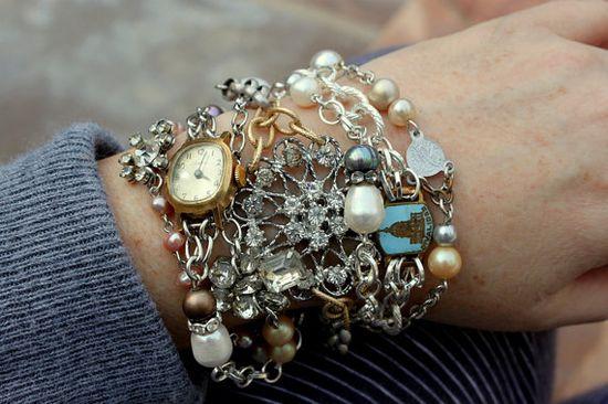 Vintage Rhinestone and Findings Layers Bracelet~