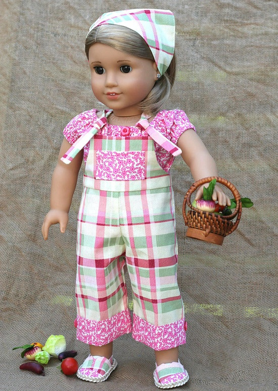 American Girl Doll 5 pc Farmers Market Outfit .  Cropped Overalls . Peasant Top . Kerchief . Janes Shoes . Basket of Veggies. $35.00, via Etsy.