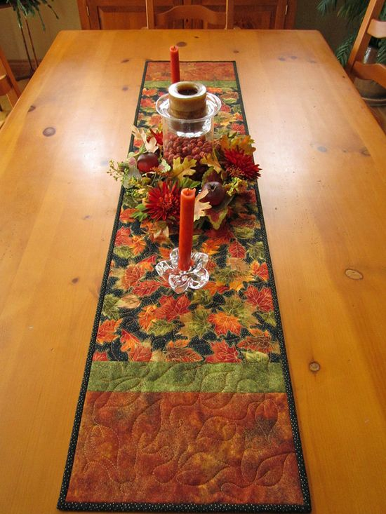 Autumn Leaves Handmade Quilted Table Runner at Patchwork Mountain