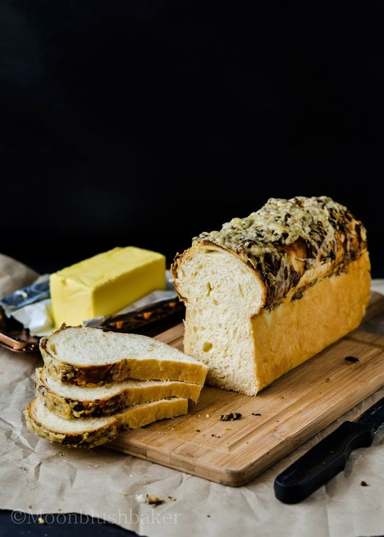 Black Olive pesto crusted cheese loaf - The moonblush Baker