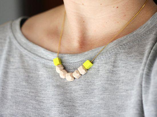 Neon clay necklace.