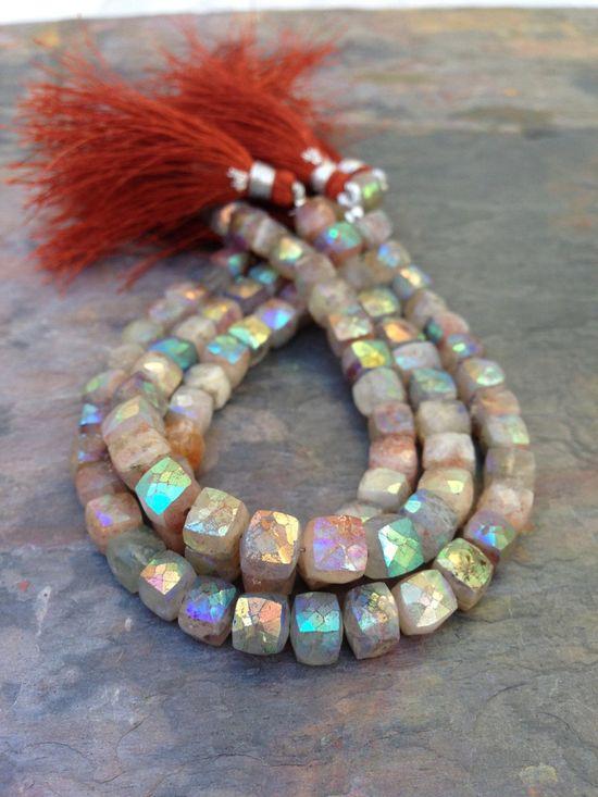 ? Sunstone AB Designer Gemstone Square Cube Beads, available on Etsy