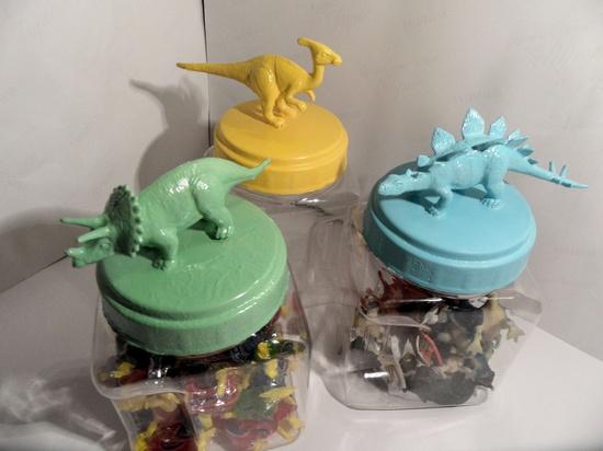 Nursery or Boys Room Decor - Plastic Dinosaur Jars - set of 3 -