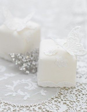 white butterfly mini cakes