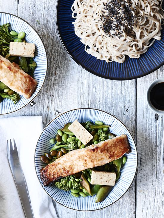 Miso Baked Salmon with Edamame and Tamari Greens by kenkokitchen #Salmon #Miso #Healthy