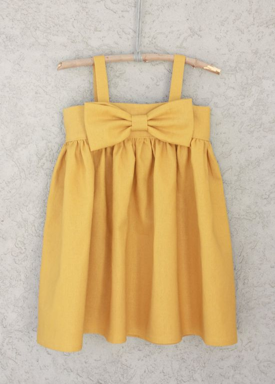 Mustard Yellow Big Bow Dress, Baby and Toddler Girl.