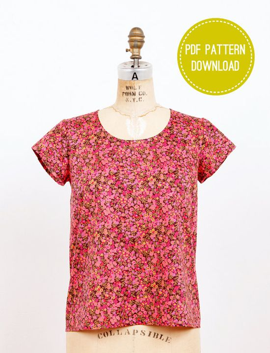 Scout Woven Tee  Downloadable Sewing Pattern PDF by grainline, $6.50