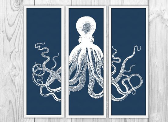 Octopus Triptych  3 Large Panels  Navy Octopus Trio  by BySamantha, $30.00