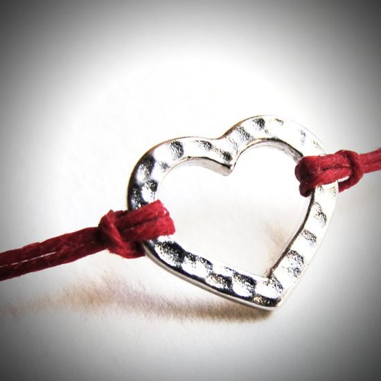 "Still time to show your Mother's Day love with this ""Simple Love"" bracelet on red linen from JewelryByMaeBee $16!"