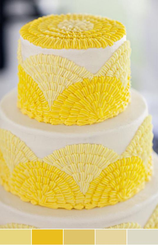 yellow wedding cake by Daisy Cakes