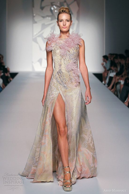 abed mahfouz fall 2012 couture sleeveless gown slit, evening dress, evening wear