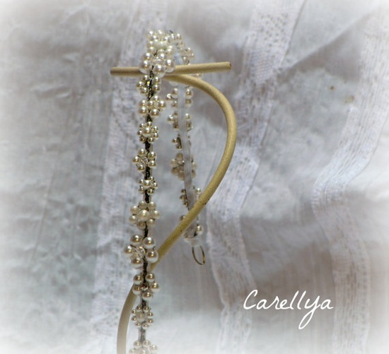 Beaded Wreath Pearls And Crystals Wedding Crown   by carellya, $64.00