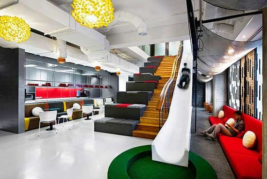 Creative office design example. Make your office a play ground! #office#design#creative