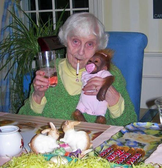 Grandma & her monkey.