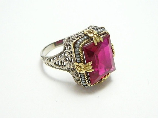 hello lovely!! Rare 14k White Yellow Gold Antique Art Deco Red Ruby Pearl Filigree Ring