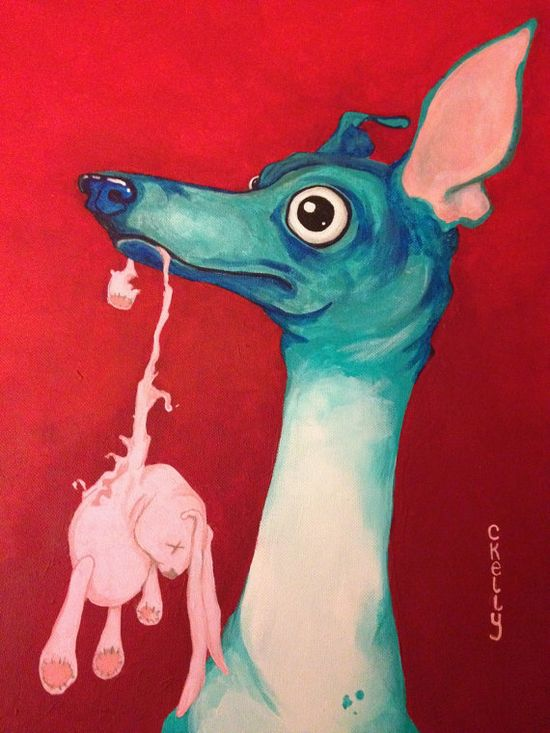 Italian greyhound with toy original painting by Courtsart on Etsy, $500.00