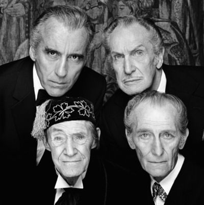 Christopher Lee, Vincent Price, John Carradine and Peter Cushing - HOUSE OF THE LONG SHADOWS Hampshire, England, 1983.  Looks like a collection of pallbearers.