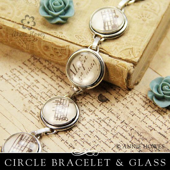 DIY Silver Bracelet with Glass Inserts. Vintage Silver Plated Bracelet with Circle Bezel Cups. Easy to Make! From Annie Howes.    HOW TO MAKE THIS GLASS BRACELET:    Use any paper you like, including ink jet prints.    Step 1: Attach the Glamour FX glass to the paper using Glamour Seal and allow to dry.    Step 2: Trim paper around glass (this doesn't need to be perfect)    Step 3: Glue into the bracelet setting using Glamour Seal and let dry.    It's that easy!